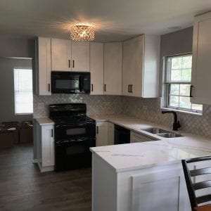 Kitchen Remodeling in Streamwood - kitch backsplash, cabinets, countertops, new wood flooring