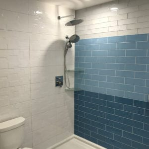 Remodeled bathroom in Schaumburg with new tiles