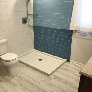 New bathroom flooring and shower remodeling in Schaumburg IL
