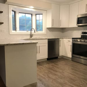 Kitchen remodelers in Elk Grove Village, new hardwood flooring, cabinets, and countertops