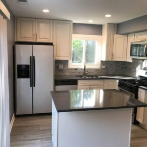 Kitchen Remodeling in Roselle, new kitchen backsplash, flooring, cabinets, countertops