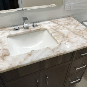 A sink in remodeled bathroom in Park Ridge IL