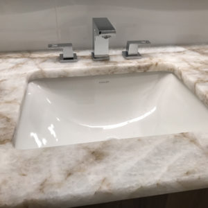 A renovated bathroom in Park Ridge IL, new granite sink