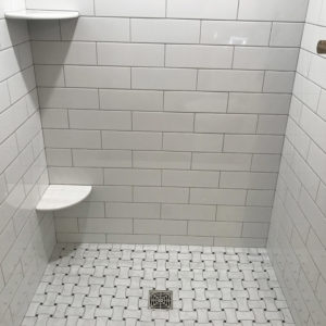 A remodeled bathroom shower in Rolling Meadows IL